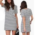 New Women Summer Short Sleeve Striped Casual Party Beach Short Mini Dress TQ