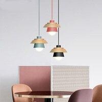 1 piece Nordic minimalist modern dining room restaurant cafe pendant lamp droplight wood meal hanging bar study office wood lamp