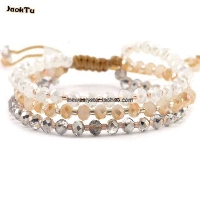2017 champagne color crystal beads knitted single-circle combination wrap bracelet