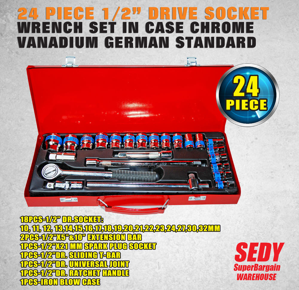 NEW 24 Piece 1/2 Drive Wrench Socket Set Ratchet Spanner Extension Adaptor CR-V Red xkai 14pcs 6 19mm ratchet spanner combination wrench a set of keys ratchet skate tool ratchet handle chrome vanadium