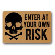 Enter at your own risk kitchen floor mats non slip design doormat for entrance door Funny Front indoor rug mat 18 x 30