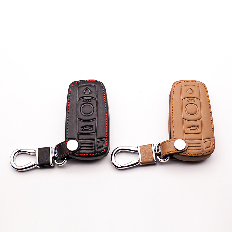 Car styling Top layer Leather Car Key case Cover for BMW 1/3 5series X1 X3 X5 X6 Z4 Smart 3 button remote control protect shell