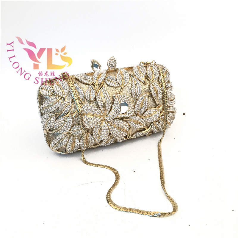 Clutch Evening Bags Women Sun Flower Design Crystal Beads Event/Party / Wedding Evening Bag Five Colors Available YLS-F49 luxury crystal clutch handbag women evening bag wedding party purses banquet
