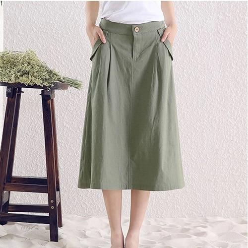 Short Real Skirts Womens 2015 Summer New Leisure  Wild Solid Color Skirts Cotton Linen Long Skirt xxxxl 5xl 6xl wallet