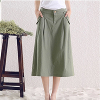 Short Real Skirts Womens 2015 Summer New Leisure Wild Solid Color Skirts Cotton Linen Long Skirt