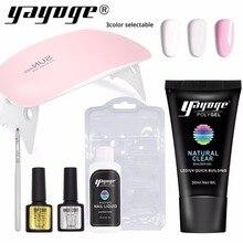 цены Yayoge Poly Gel Nail Kit With Lamp LED UV Gel Nail Polish Art Kit Quick Building For Nails Extensions Hard Gel Polygel Nail Set
