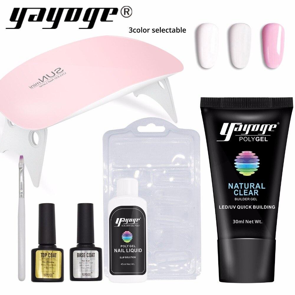 Yayoge de Gel LED Gel UV barniz esmalte de uñas Kit de arte rápido edificio para uñas extensiones de difícil jalea Gel polygel claro