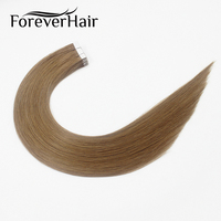 FOREVER HAIR 2.0g/pc 18 Remy Tape In Human Hair Extension Brown 8# 20pcs/pack Top Grade Seamless Skin Weft Hair Extension 20pcs
