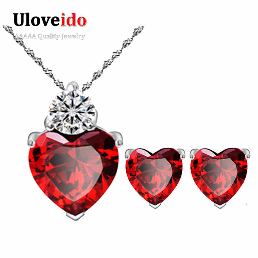 Uloveido Red Wedding Jewelry Sets Silver Plated Jewelry Heart Jewelery Vintage Pendant Earrings for Women Earring 5% off BME53