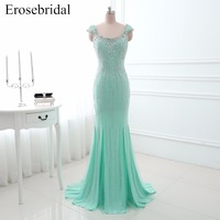Real Image Beading Sleeveless Long Evening Dress Sexy Open Back Floor Length Formal Party Gown YY0010