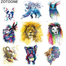 ZOTOONE Iron on Patches Watercolor Lion Animal Patches for Clothing Badges Heat Transfer Diy Accessory Washable Clothes Applique смеситель для биде vidima сева фреш ba028aa