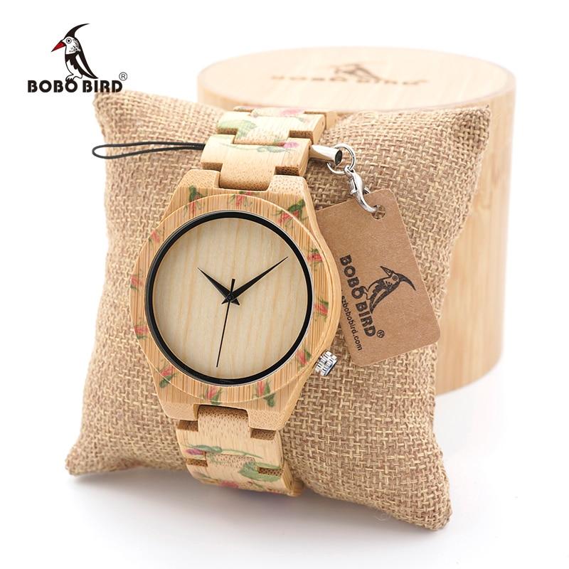 BOBO BIRD Γυναικεία ρολόγια χειρός γυναικών Ξύλινο ρολόι μπαμπού Μάρκα πολυτελείας Τυπωμένα λουλούδια Σύνδεσμοι έθιμο δώρα λογοτύπου