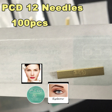 PCD 12 Eyebrow Needles Copper Permanent Eyebrow Makeup Curved Blade Manual Eyebrow 12 Needles For Tattoo Needles
