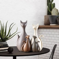 3/4pcs Nordic Modern Abstract Deer Cat Figurines Family Creative Home Decoration Ceramic Crafts Wedding Gifts Ornaments Set New