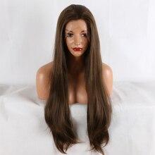 Фэнтези красоты 180% Плотность женщин 26 дюймов кружева спереди парик натуральный коричневый прямые термостойкие синтетические волосы костюм парики