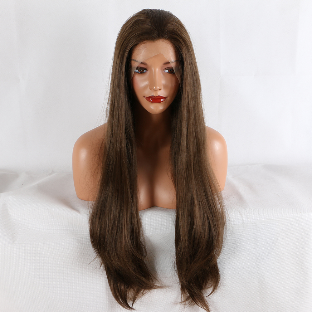 Fantasy Beauty 180% Density Women 26 Inches Lace Front Wig Natural Brown Straight Heat Resistant Synthetic Hair Costume Wigs