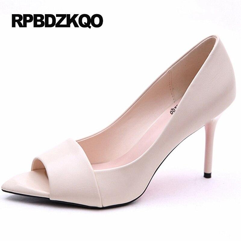 peep toe fish white pumps green high heels shoes