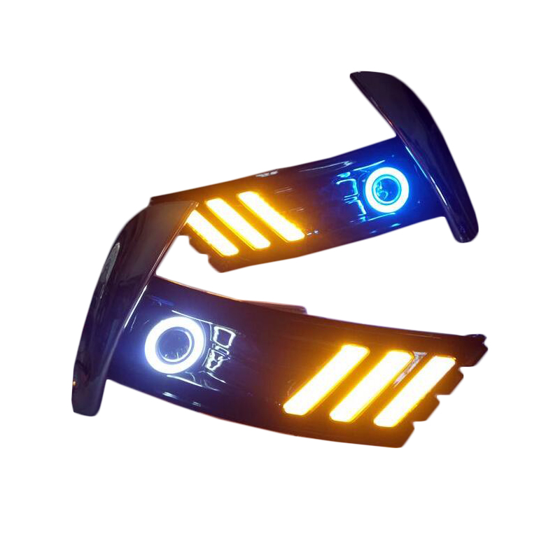For Toyota Corolla 2017 2018 Led Daytime Running Lights 12V ABS DRL Yellow Turn Signal Lights With Blue Angel Eyes 4 led 12v vehicle signal lights 2 pack yellow