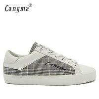 CANGMA Marca Canvas Sneakers Scarpe Uomo Italiano Handmade in Bianco E Nero Plaid Appartamenti Maschile Scarpe Comode Mens Retro Calzature