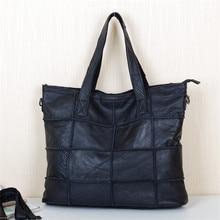 Caerlif women leather handbags box splicing inclined shoulder gg bag black big bag handbag women leather handbags famous brand