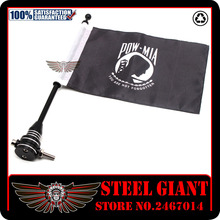 Motocycle Rear Side Mount Luggage Rack Vertical Flag Pole American Flagpole Mount and Flag (POW MIA)&Pro Pad Marine Corps