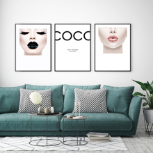 Nordic Fashion Women Black Pink Lips Canvas Painting COCO Wall Art Pictures For Living Room Posters and Print Home Decor