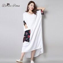 2016 Elegant Shirt Dresses Women's Long Shirt Dresses Chinese Floral Pocket Short Sleeve Maxi White Dresses(BelineRosa BR0002)