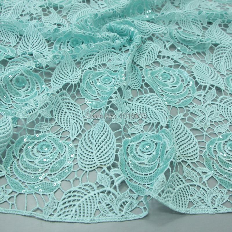120 cm širina mint zelena afriška vrvica čipke tkanine guipure - Umetnost, obrt in šivanje - Fotografija 2