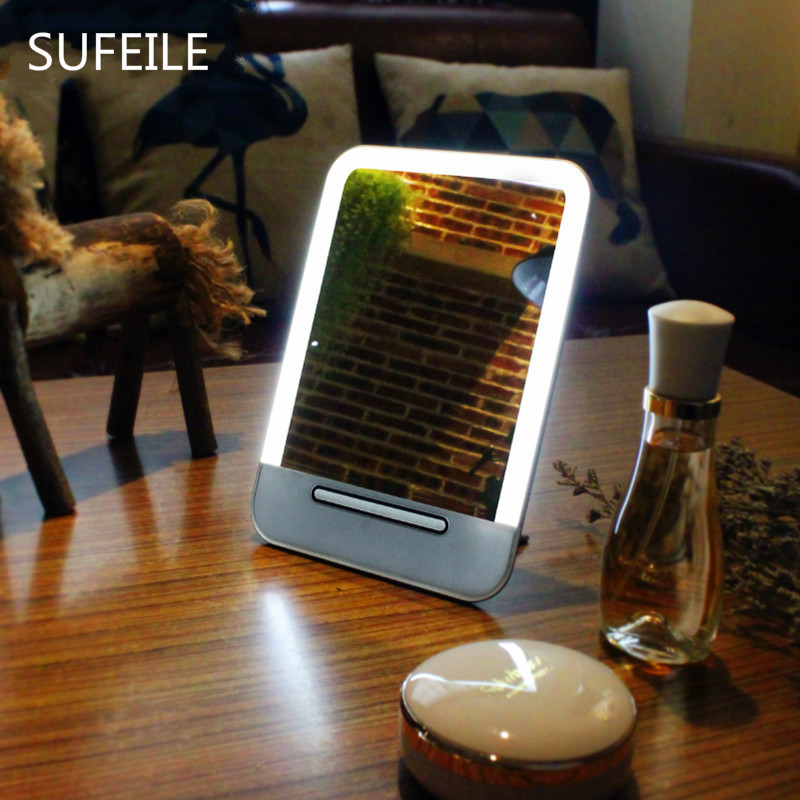 SUFEILE Светодиодная лампа портативное зеркало для макияжа Путешествия зеркало для одевания, зеркальный домашний зарядки настольных Портатив