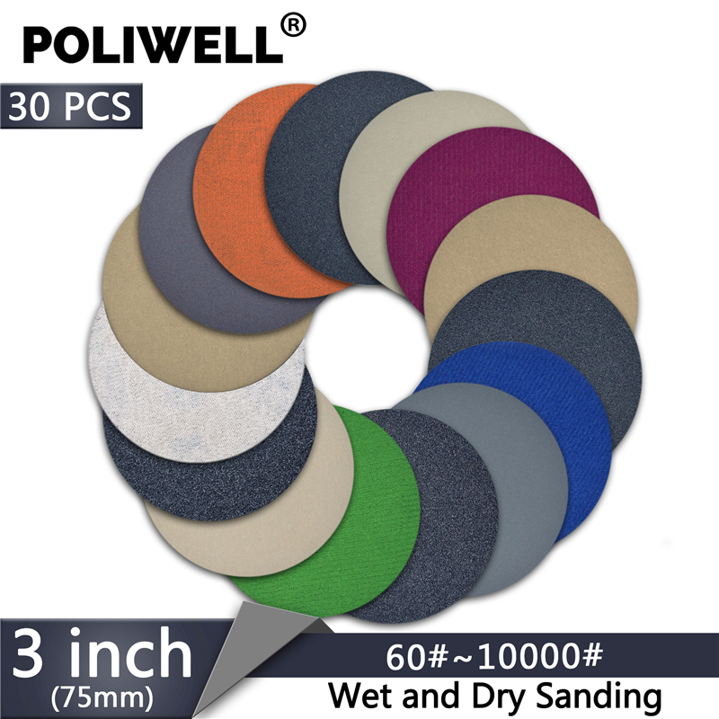 POLIWELL 30PCS 3 Inch Grit 60/240/3000/5000/10000 75mm Sanding Discs Silicon Carbide Round Flocking Sandpaper Car Polishing Tool