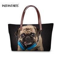 INSTANTARTS Cute 3D Animal Printed Women Handbags for Ladies Shopping Pug Dog Tote Bags Brand Designer Fashion Top Handle Bag