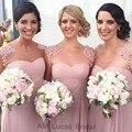Novo 2016 Longa Da Dama de honra Vestidos Pescoço Da Colher Chiffon Praia Dusty Rose Rosa Barato Vestidos de Dama de Honra Vestidos de Festa de Casamento