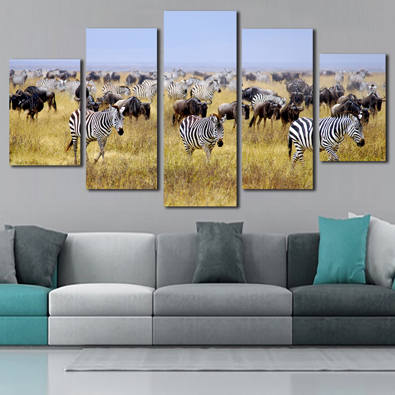 Paintings On Canvas A Large Group Of Zebra Animal Poster 5