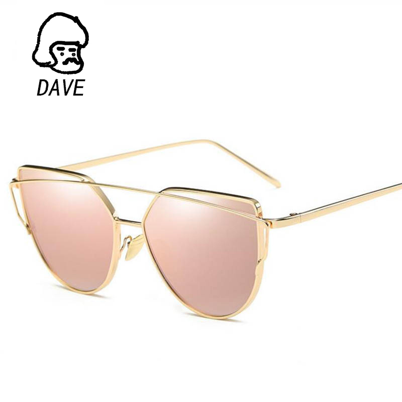 2019 Märke Retro Cat Eye Solglasögon Kvinnor Vintage Fashion Rose Gold Mirror Ögonglasögon Unique Flat Ladies Eyewear Oculos UV400