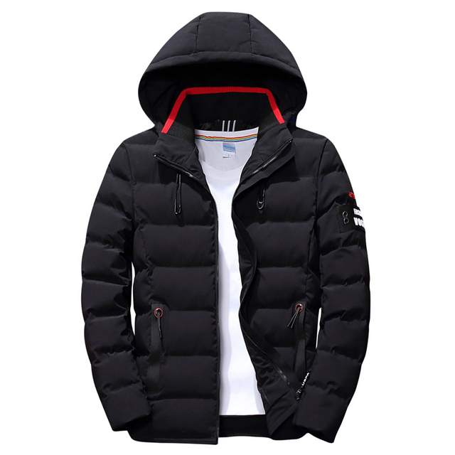 2020 drop shipping New Fashion Men Winter Jacket Coat Hooded Warm Mens Winter Coat Casual Slim Fit Student Male Overcoat ABZ82 2