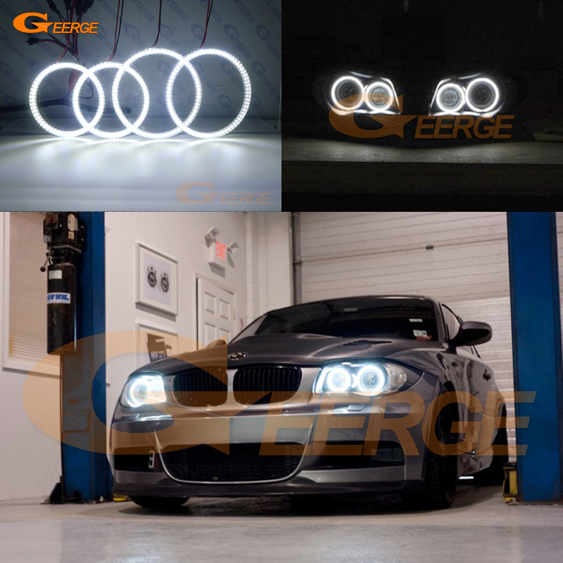 For BMW 1 Series E81 E82 E87 E88 2004-2012 XENON HEADLIGHT Excellent led Angel Eyes Ultra bright 3528 SMD led Angel Eyes kit DRL неоновые кольца angel eyes duntuo smd 60 2