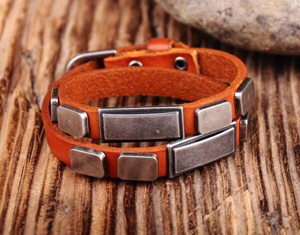 Treu G396 Orange Neue Tag Besetzt Doppel Wickeln Echtem Leder Armband Armband Manschette Neue SorgfäLtige FäRbeprozesse