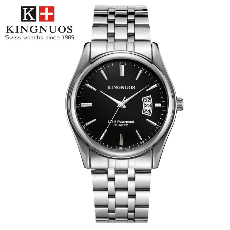 kingnuos men 39 s watches stainless steel band analog quartz wristwatch luxury watch men clock male