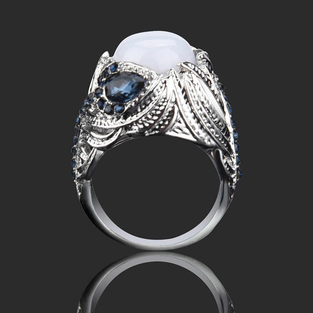 defbb645aa0 Elegant Temperament Unique Floral Ring Moonstone Treasure DiamondWedding  Band Rings Couples Rings Bijouterie #25