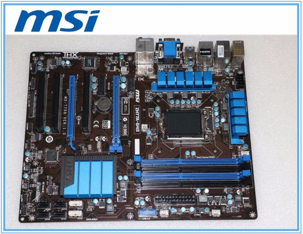 MSI ZH77A-G43 Original Desktop Motherboard DDR3 LGA 1155 For I3 I5 I7 CPU 32GB USB3.0 SATA3 H77 Motherboard