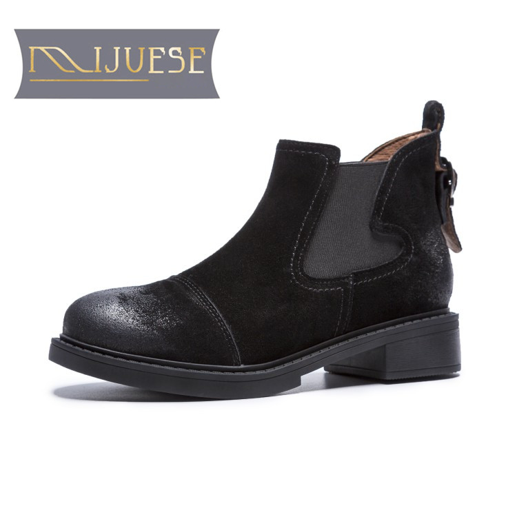 MLJUESE 2019 women ankle boots cow leather winter warm fur short plush sewing low heel Chelsea boots slip on women martin boots mljuese 2019 women ankle boots cow leather lace up short plush winter warm fur platform boots low heel women martin boots