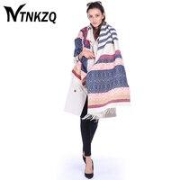 NTNKZQ 185*70 cm Nouvelle Marque De Mode poncho Hiver Écharpe Femmes Pashmina Cachemire Echarpes Chaud Bohème style Châles