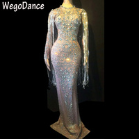 hot sexy Sparkly Crystals Long Dress Evening Party Rhinestones Dresses Birthday Celebrate Costume Fringes Dress Women Clothing