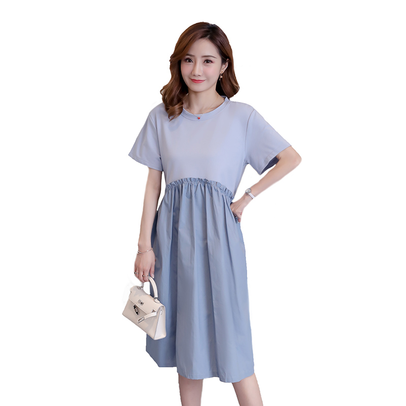 Summer Maternity Dress Patchwork Fashion Pregnancy Clothes Preppy Style Pregnancy Clothing Of Pregnant Women Chiffon