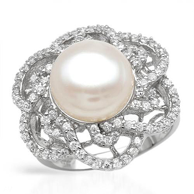 I&zuan S925 Silver White Cultured Freshwater Diameter 9~10mm Pearl Trendy Ring Jewelry Christmas gift