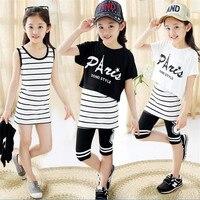 2016 New Children S Clothing Girls Summer Suit Children S Sports Old Girl Three Piece Suit
