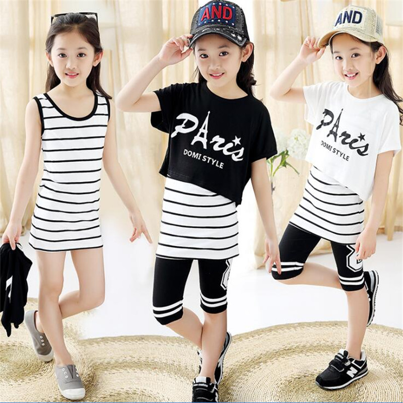 2018 new children's clothing girls summer suit children's sports-old girl three-piece suit girls 2017 spring new girls suit girls leisure sports performance clothing
