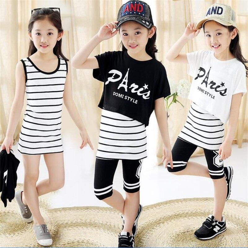 купить 2018 new children's clothing girls summer suit children's sports-old girl three-piece suit girls онлайн