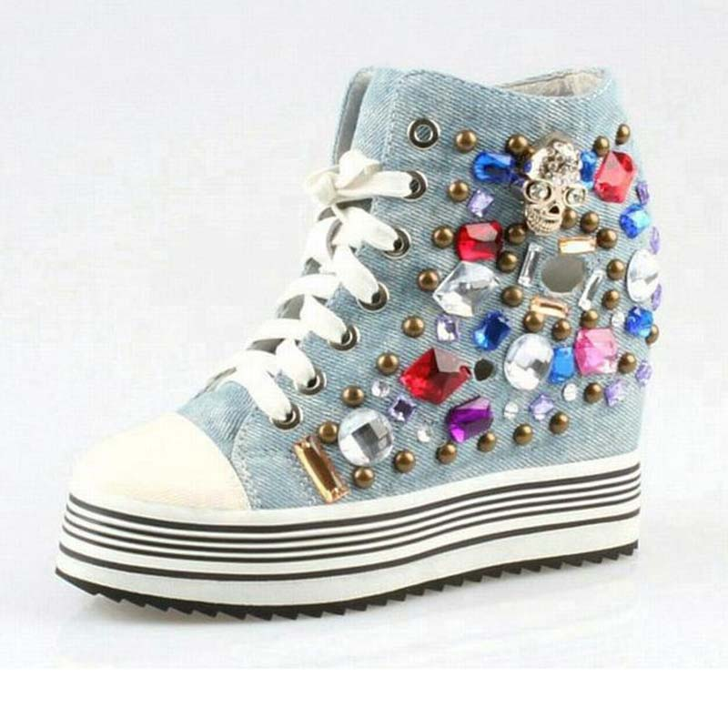 new women summer cut-outs punk rivets casual shoes fashion luxury rhinestone high top lace up thick bottom denim canvas shoes new arrival women high top lace up denim casual shoes handmade sewing big rhinestone canvas ankle boots height increasing shoes
