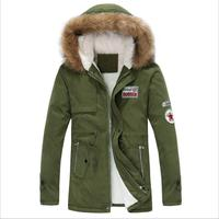 jacket men 2019 new men's thick warm winter down coat long fur collar army green men parka Fleece cotton coat jacket parka men